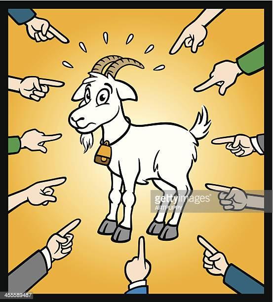 ilustraciones, imágenes clip art, dibujos animados e iconos de stock de cabra ser un chivo expiatorio - asumir la responsabilidad