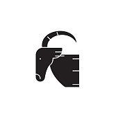 Goat head black vector concept icon. Goat head flat illustration, sign