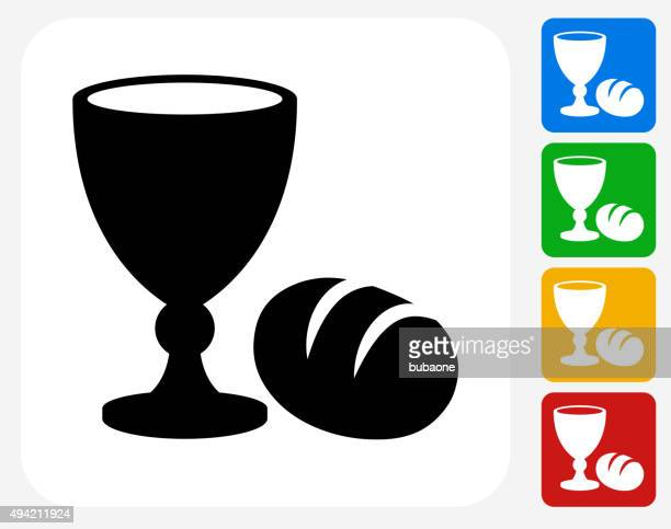 goblet and bread icon flat graphic design - communion stock illustrations
