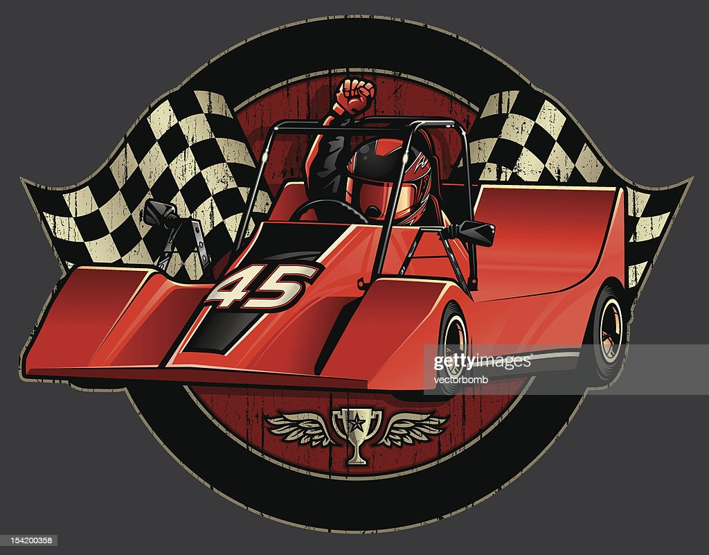 Go-Cart Racing Champion Crest with Checkered Flags