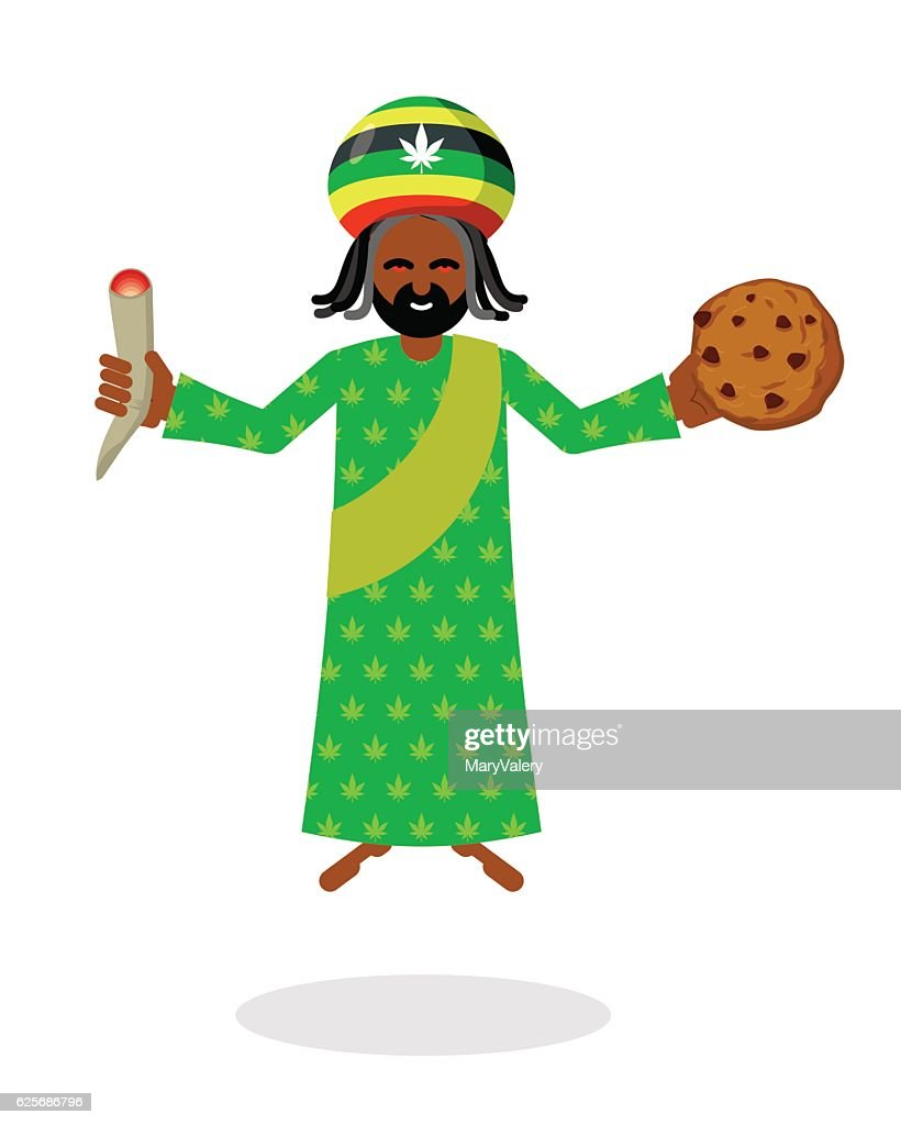 God ganja. idol Jah gives  cookies and joint or spliff