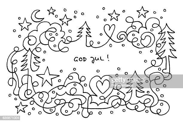 God Jul Christmas Night Line Art Drawing