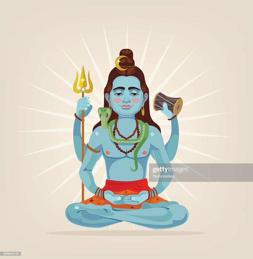 God Shiva character sitting in lotus position