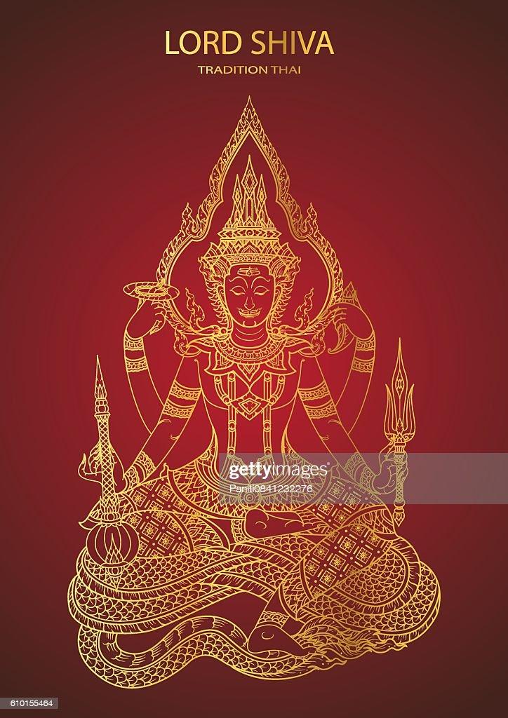 God Shiva thai tradition line