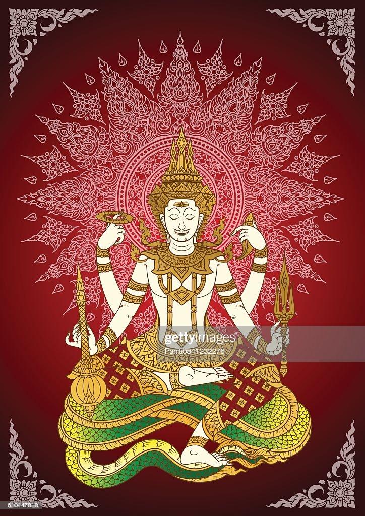 God Shiva thai tradition vector
