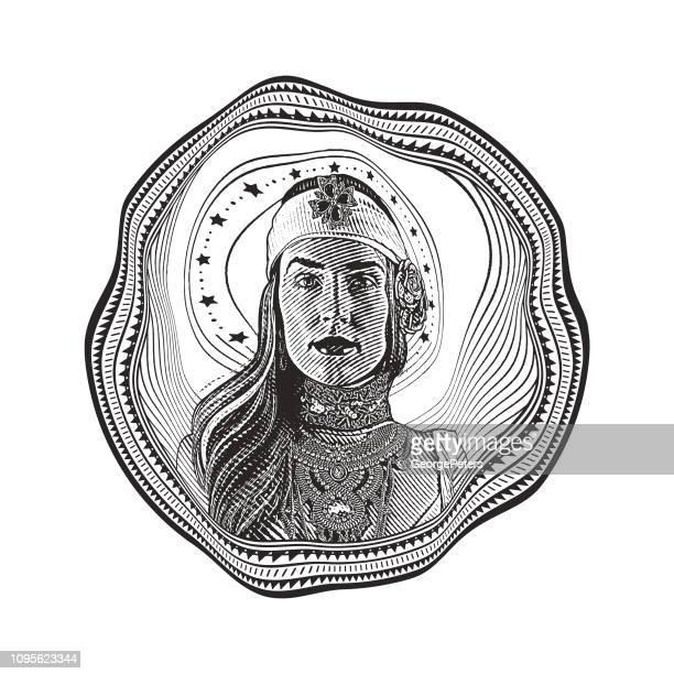 Goddess and distorted circle frame