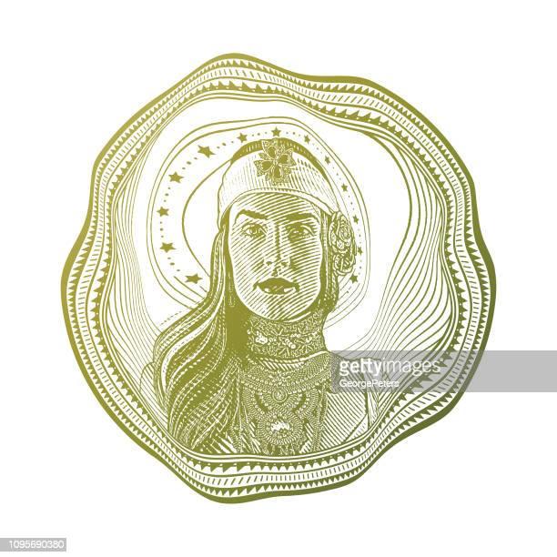 女神と歪んだ円フレーム - カーキグリーン点のイラスト素材/クリップアート素材/マンガ素材/アイコン素材