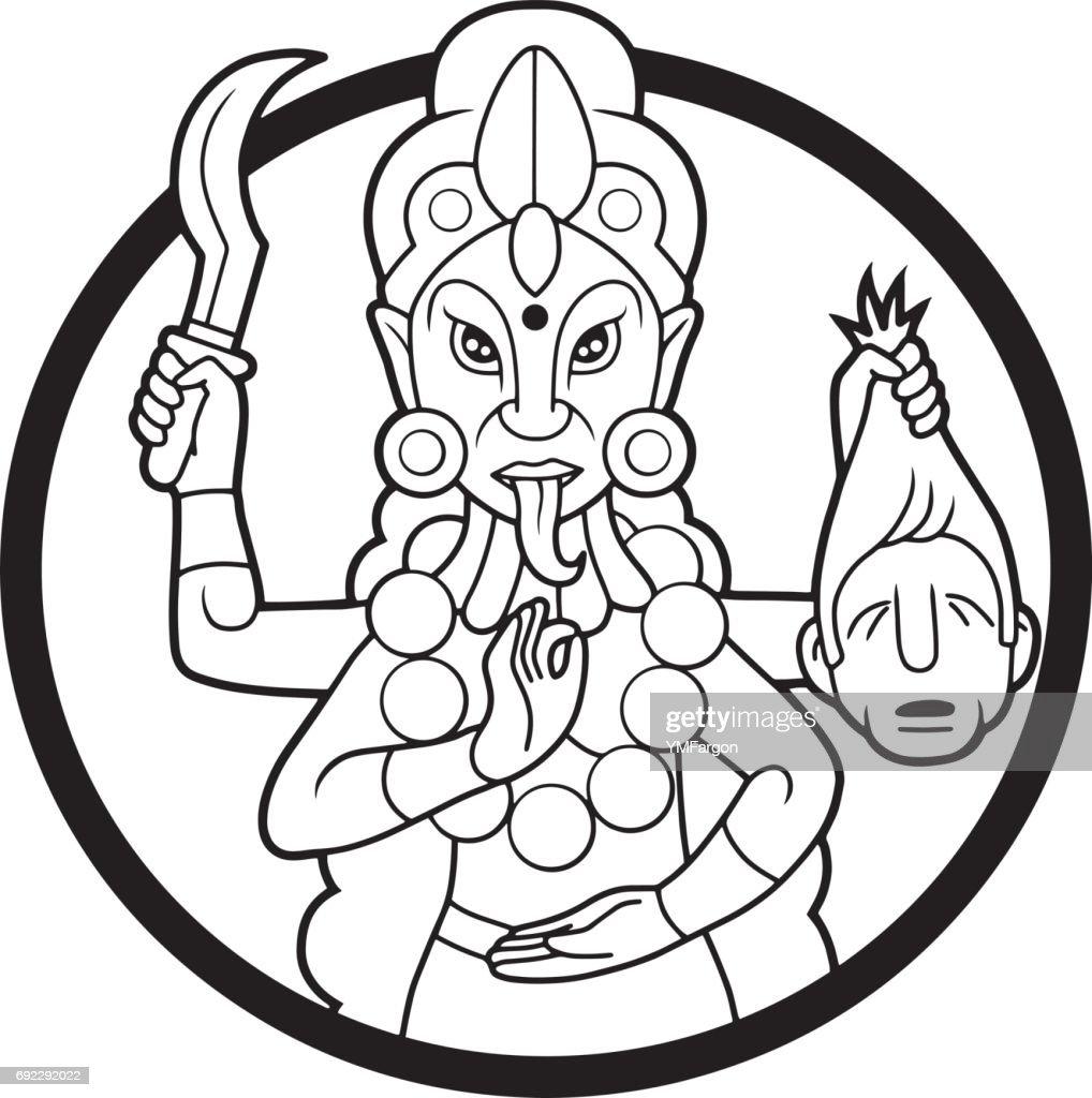 goddess Kali illustration of black color