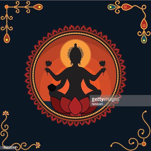 goddess lakshmi - goddess lakshmi stock illustrations