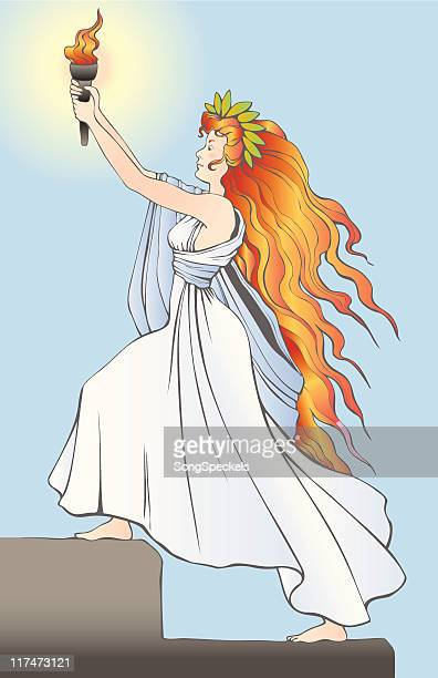 goddess liberty carrying the torch of freedom and enlightenment - goddess stock illustrations, clip art, cartoons, & icons