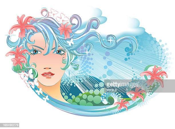 goddess of spring - goddess stock illustrations, clip art, cartoons, & icons