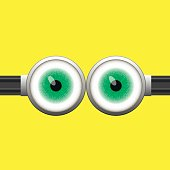 Goggle with Two Green Eyes