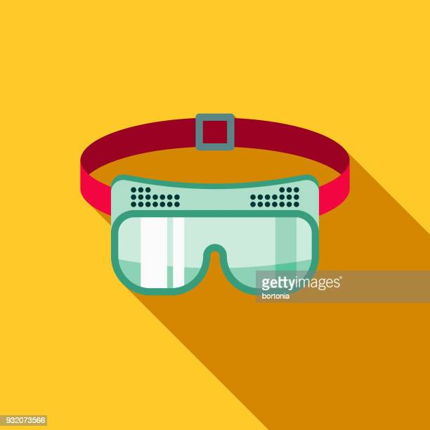 Goggles Flat Design Cleaning Icon with Side Shadow