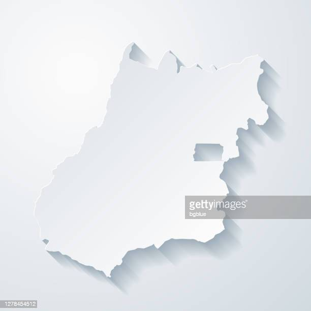 goias map with paper cut effect on blank background - goiania stock illustrations