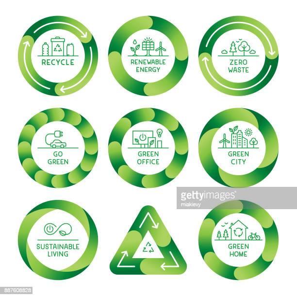 ilustraciones, imágenes clip art, dibujos animados e iconos de stock de etiquetas va verde - energias renovables
