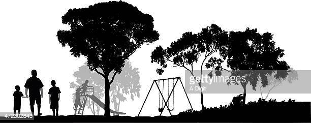 going to the park - eucalyptus tree stock illustrations