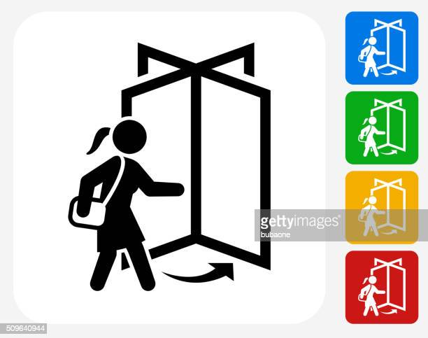 going to work icon flat graphic design - leaving stock illustrations
