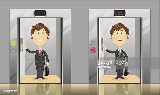 going up and down in elevator - elevator stock illustrations, clip art, cartoons, & icons
