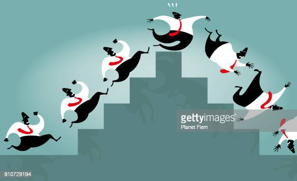 going up fast and thumbling down - capitalism stock illustrations