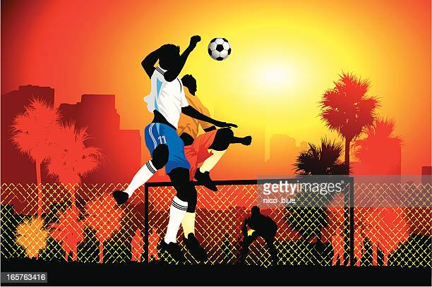 going up for a header - heading the ball stock illustrations