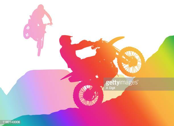 going up! rainbow - motocross stock illustrations, clip art, cartoons, & icons