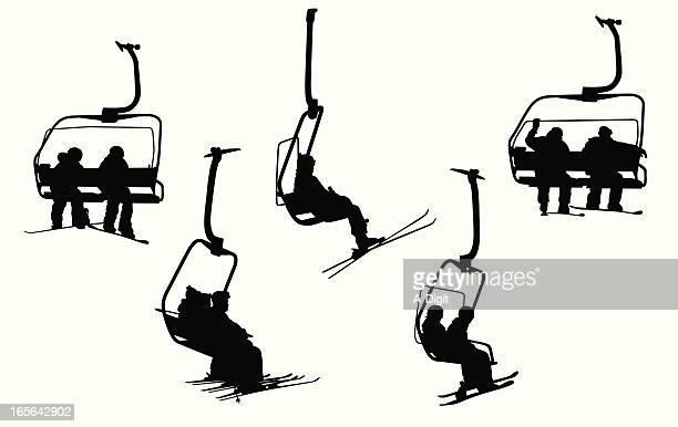 goingup vector silhouette - ski lift stock illustrations