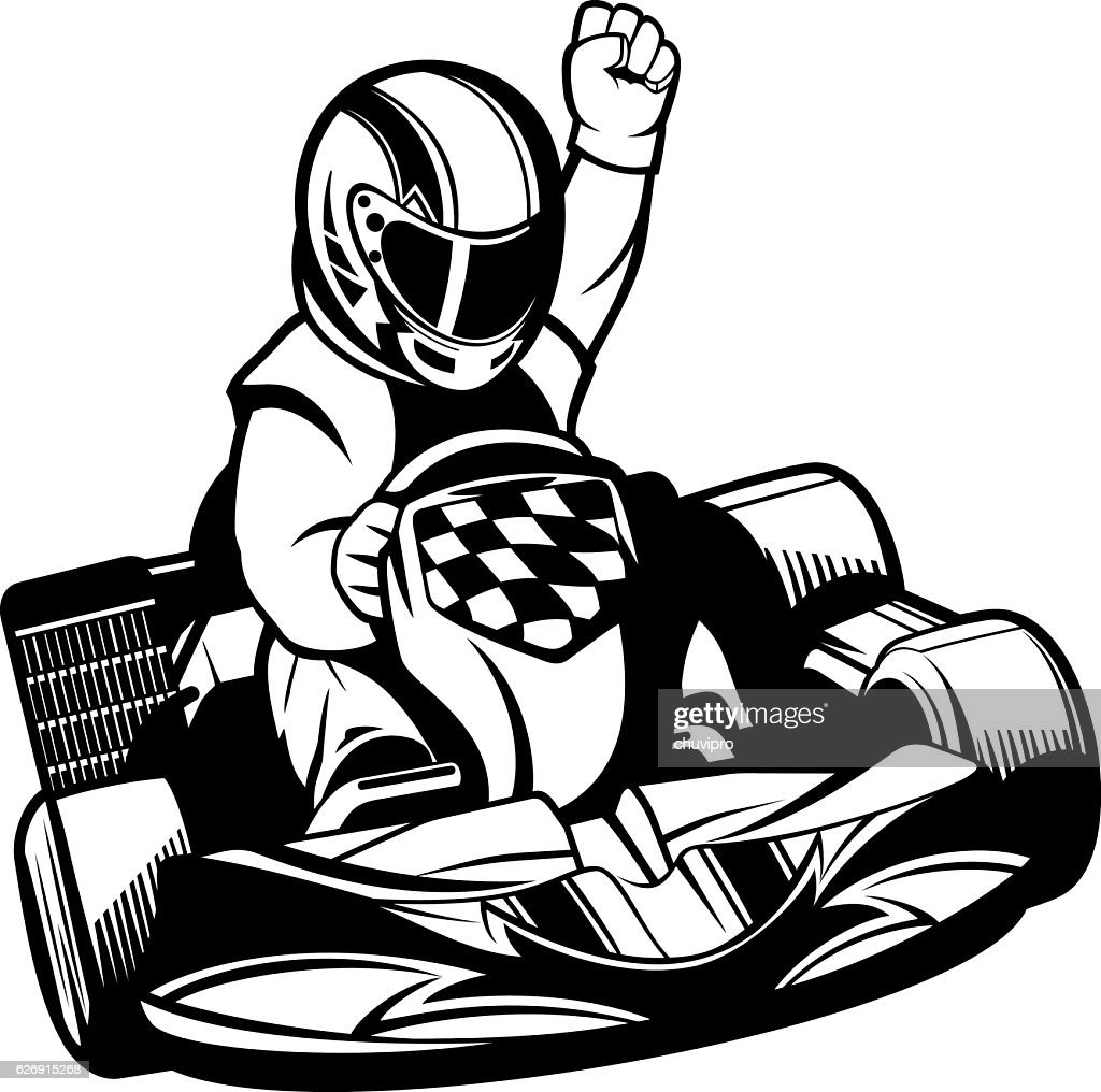 soapbox cart stock illustrations and cartoons Soap Box Derby Logo go kart racing b w