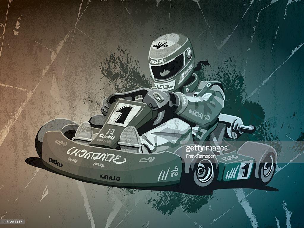 Go-Kart Racing Grunge Monochrome
