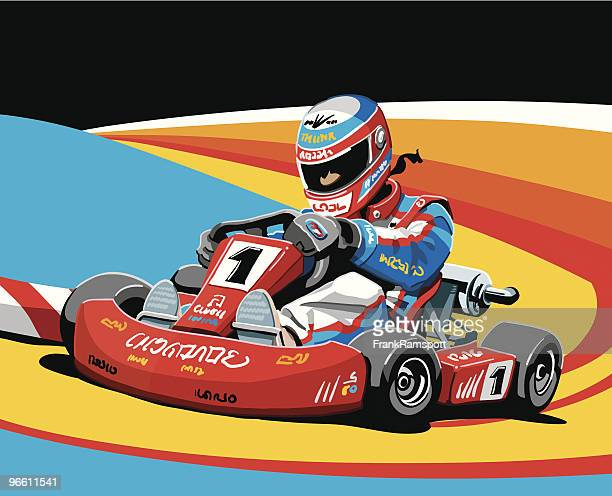 go-kart racing - competitive sport stock illustrations, clip art, cartoons, & icons