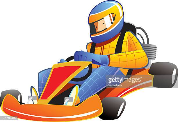 go-kart racing - go carting stock illustrations, clip art, cartoons, & icons