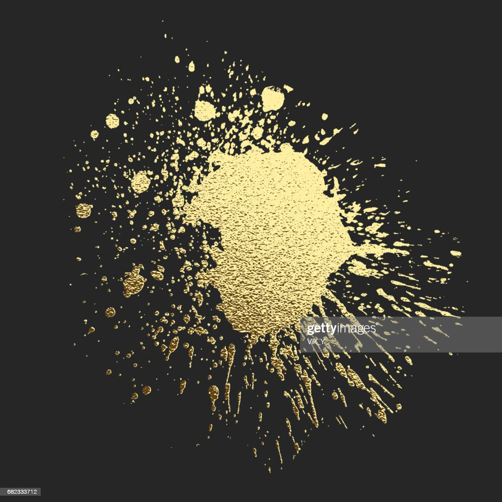 Gold acrylic paint on the black background. Vector illustration
