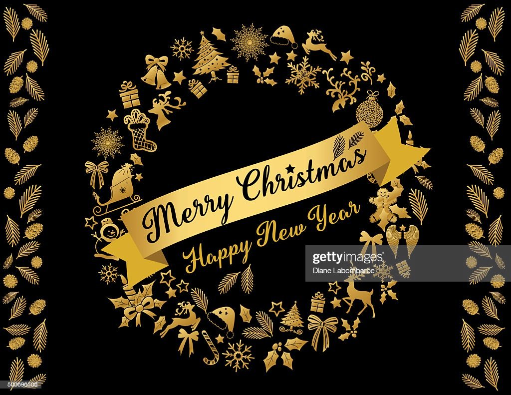 Gold And Black Christmas Card Wreath Template Vector Art | Getty Images