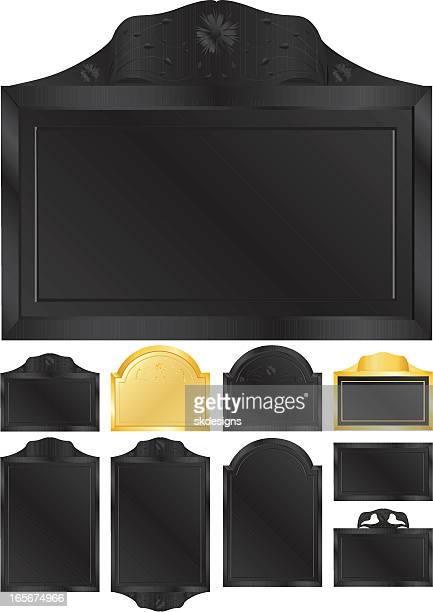 gold and black emblems, plaques, or signs set - memorial plaque stock illustrations, clip art, cartoons, & icons