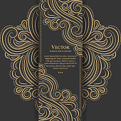 Gold and black vintage invitation card. Good for flyer, menu, brochure. Luxury ornament.