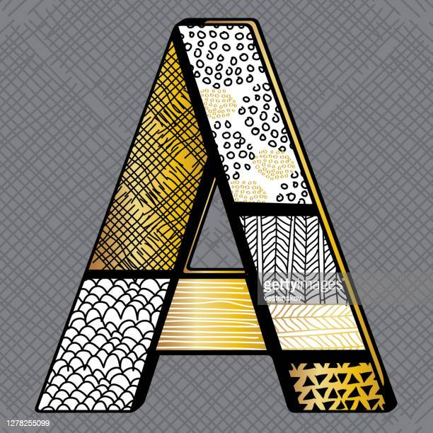 gold and black zentangle doodle art sketch drawing alphabet a - art and craft stock illustrations