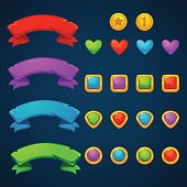 Gold and Gems, treasuries bubble shooter, match 3, vector objects and blocks