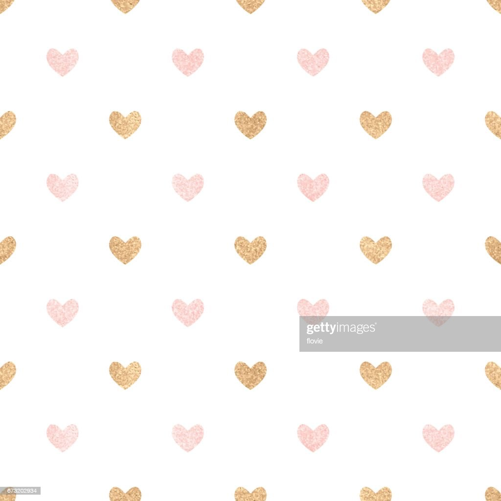 Gold and pink hearts on a white backdrop.