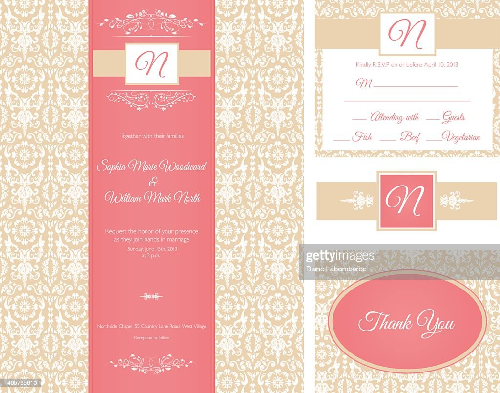 Gold And Red Damask Invitation Set Vector Art   Getty Images