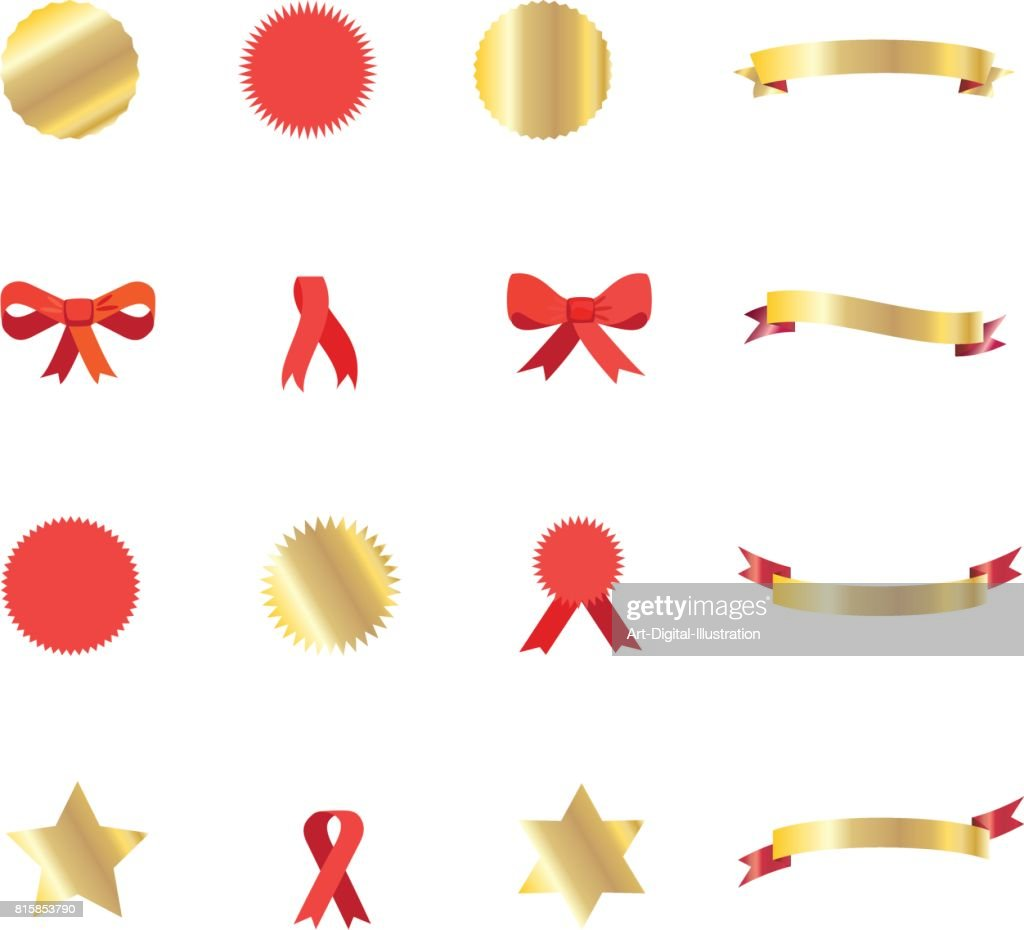 Gold and red Ribbon banners