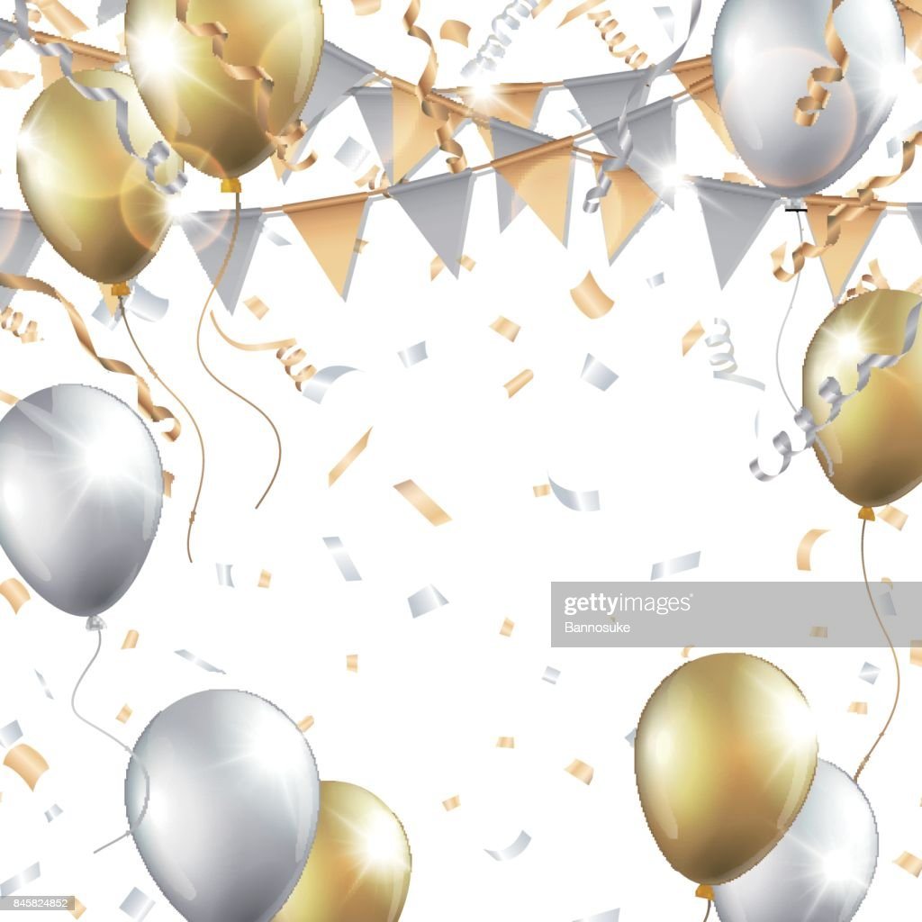 Gold and silver balloons, confetti, streamers and party flag on white background
