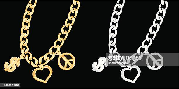 gold and silver chain - necklace stock illustrations, clip art, cartoons, & icons