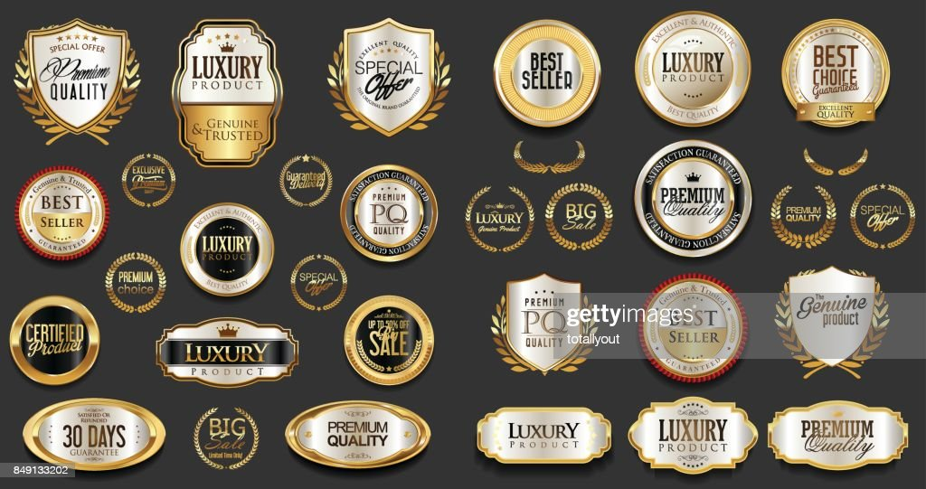 Gold and silver luxury badges retro design collection