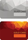 Gold and silver VIP premium member cards in polygonal style