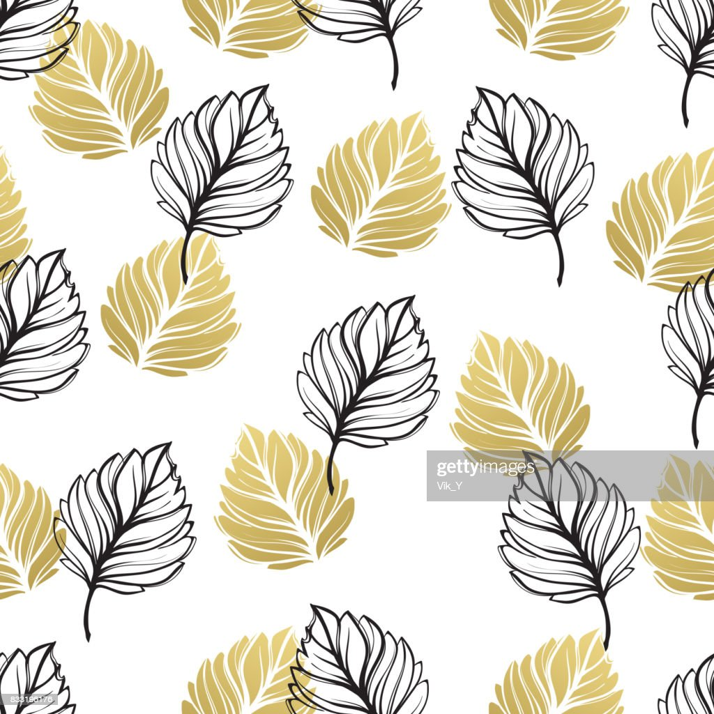 Gold Autumn Floral Background Glitter Textured Seamless Pattern
