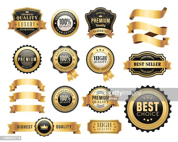 gold badges and ribbons set - banner sign stock illustrations