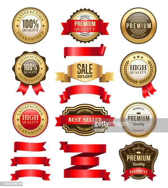 gold badges and ribbons set - seal stock illustrations