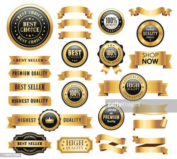 gold badges and ribbons set - gold coloured stock illustrations
