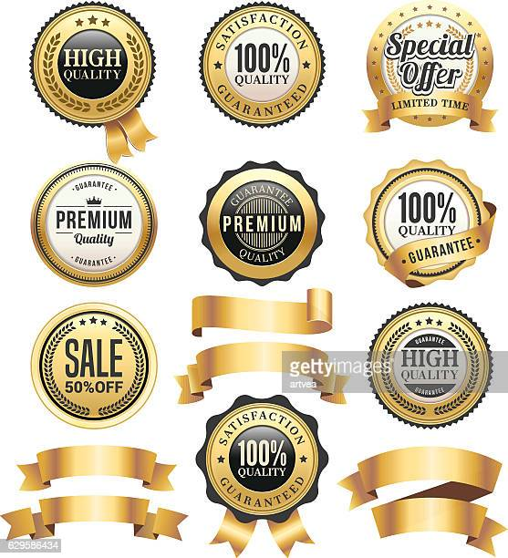 gold badges and ribbons set - luxury stock illustrations