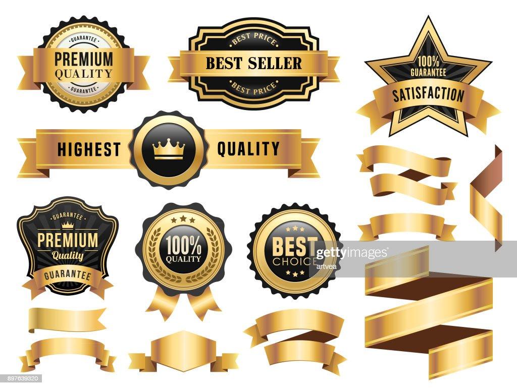Gold Badges and Ribbons Set : Stock Illustration