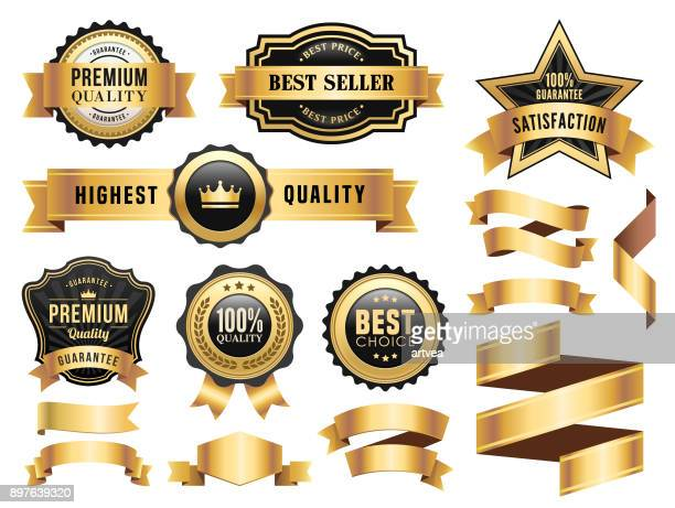 gold badges and ribbons set - achievement stock illustrations, clip art, cartoons, & icons